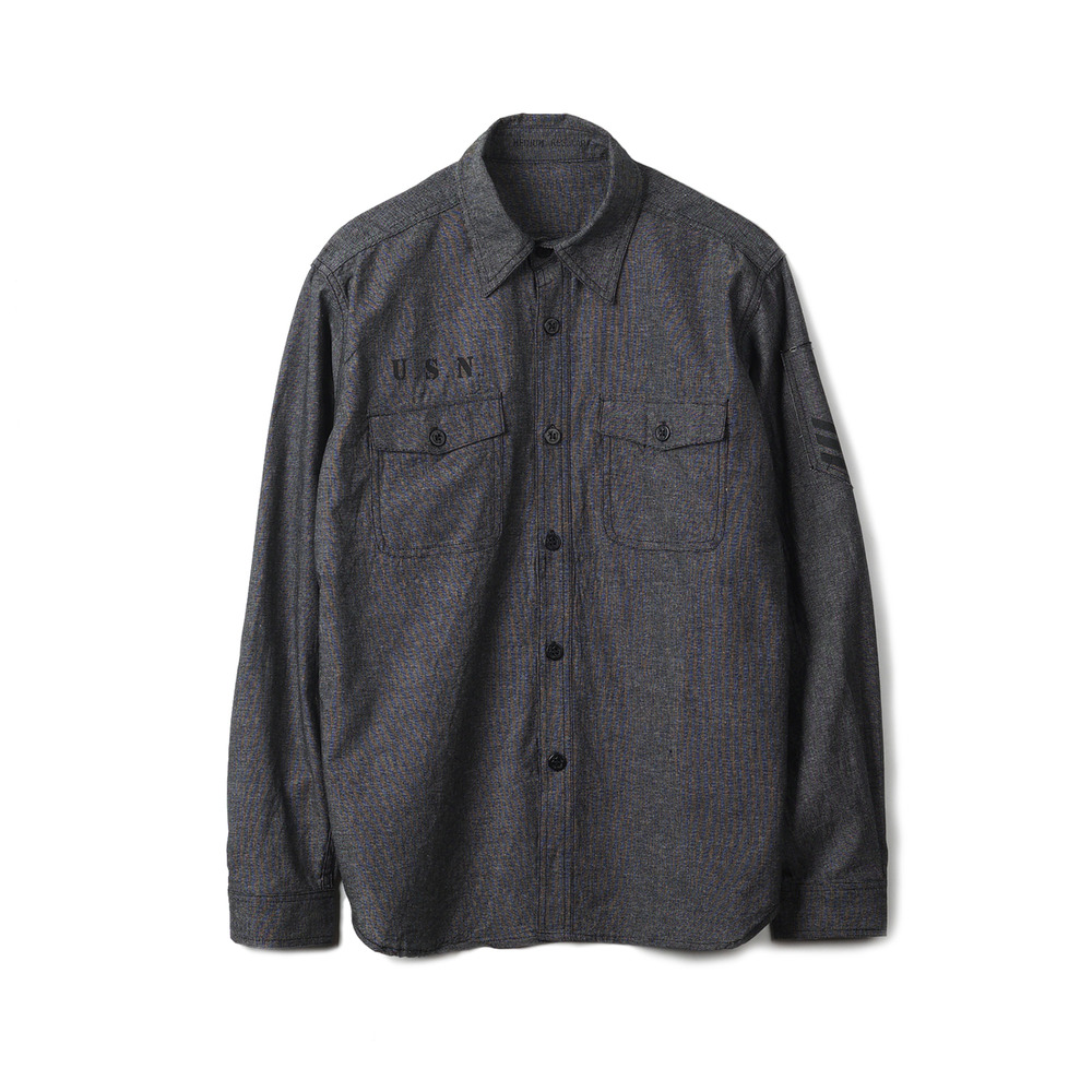 US Type NAVY Chambray Shirts L/S Stencil 'Black'