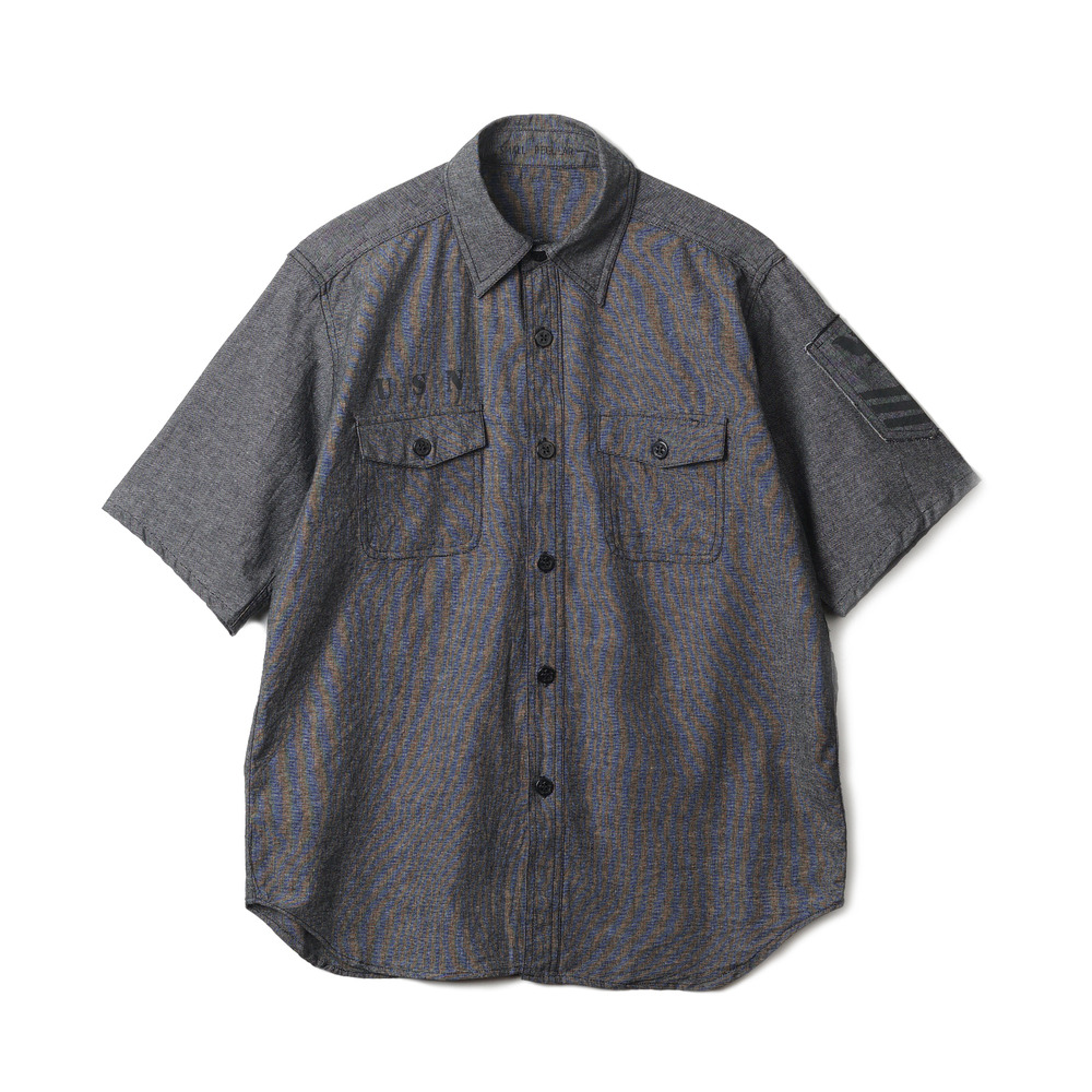 US Type NAVY Chambray Shirts S/S Stencil 'Black'