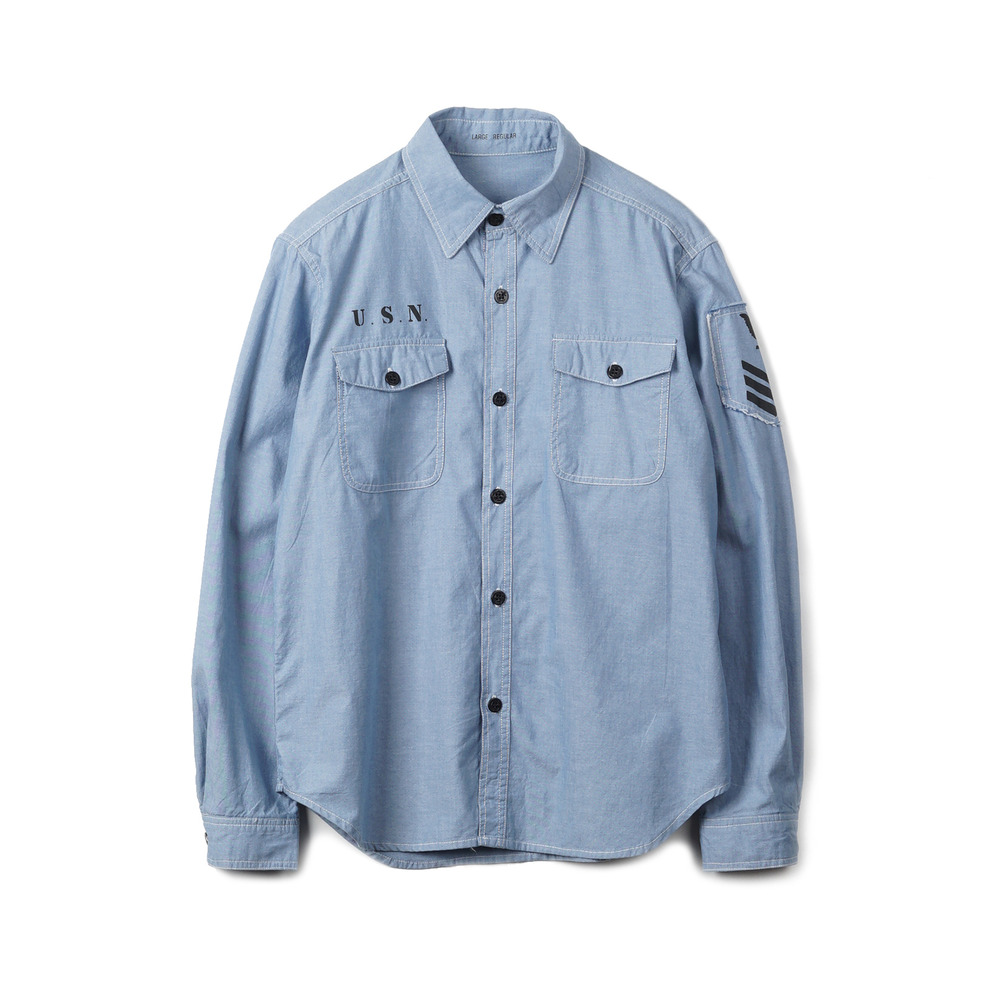 US Type NAVY Chambray Shirts L/S Stencil 'Blue'